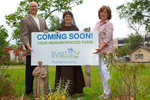 Pat O'Donnell, Sister Damien Marie Savino and Teresa O'Donnell stand in front of the new Plant It Forward site on the University of St. Thomas campus.