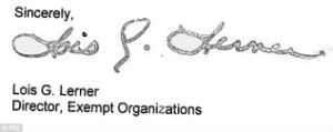 Lois Lerner's signature appears on a 2012 letter to a conservative Ohio group after the date