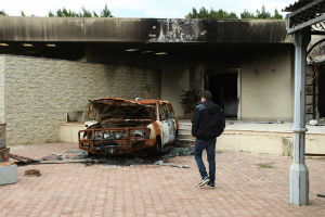 An image of the destruction outside the U.S. embassy in Benghazi.