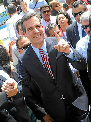 The new mayor is of mixed heritage. Eric Garcetti's mother is Jewish, and his father, Gil, the former district attorney whose office lost in the O.J. Simpson murder trial in the 1990s, is of Mexican and Italian descent.