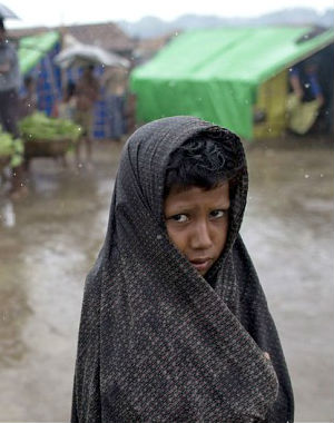 The storm on Myanmar's western coast was especially difficult for the tens of thousands of displaced Rohingya people living in plastic-roofed tents and huts in refugee camps.