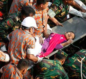 Carried out on a stretcher to an awaiting ambulance, rescuers said Reshma Begum was in shockingly good condition, despite her ordeal.