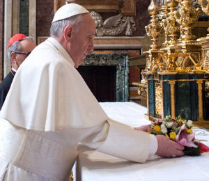 Pope Francis during the Holy Hour, during which Catholics around the world prayed before the Body of Christ.