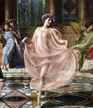 The painting was intended to bring to life an ancient Greek poem by Horace, in which a young girl is exiled from Greece and the Ionian islands. She is seen in the painting in a translucent gown, performing a native dance for her Roman mistress.