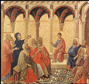 Jesus in the Temple at Twelve, by Duccio