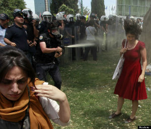 Ceyda Sungur calmly withstanding attack by an officer with pepper spray.