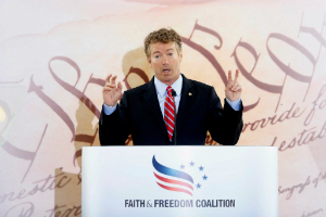 Rand Paul addresses the conference.