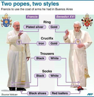 The two papal styles are dramatically different.