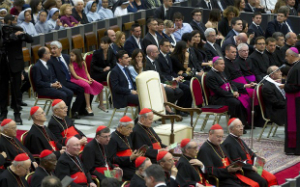 The empty papal chair set out for Pope Francis. It remained empty as the Holy Father worked.