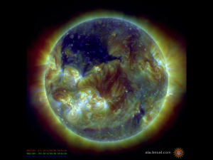 This image from NASA shows the coronal hole, which is the dark portion in the upper left.