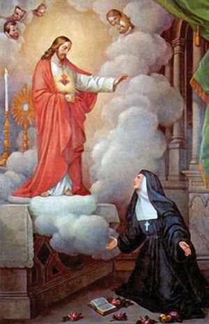 Saint Margaret Mary of Alocoque encountering the Sacred Heart of Jesus