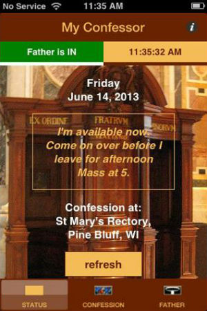 The app has a section explaining the sacrament of confession, as well as another place where users can read priests' bios.