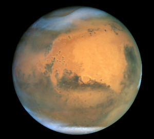Mars once had an oxygen-rich atmosphere which is why the planet is covered in rust.