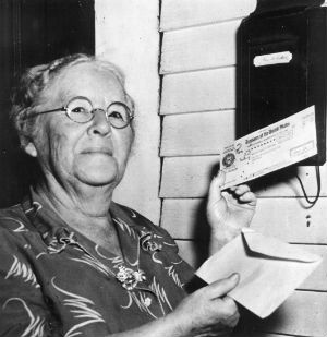 Ida May Fuller gets her check in 1940. Today's youth may not.