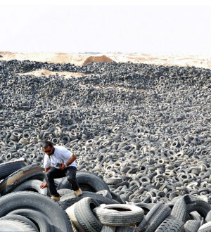 A veritable ocean of tires dominates the Sulaibiya area in Kuwait City, Kuwait. The area, so vast that it holds seven million tires, can be seen from space.