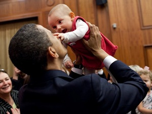 The president kissing a baby on the trail. The same president refuses to protect a baby in the last weeks of his or her time in the womb