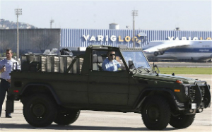A jeep to be used by Pope Francis in Rio.