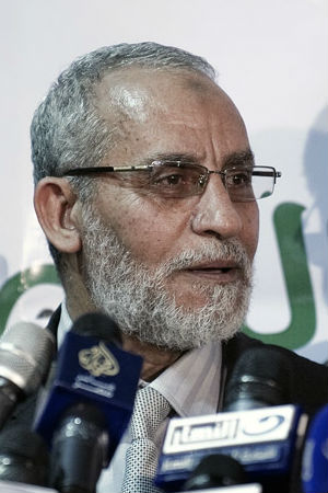 The leader of Egypt's Muslim Brotherhood, Mohamed Badie, has a warrant issued for his arrest. At least nine other senior figures of former Egyptian president Mohamed Morsi's party are also wanted for arrest.