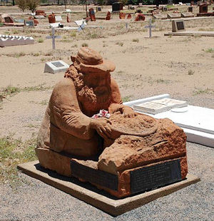 Harold Bell Lasseter's grave at the Alice Springs Cemetery in the Northern Territory, Australia. He was deserted by his companions and camels during a mission and died of exhaustion and malnutrition.