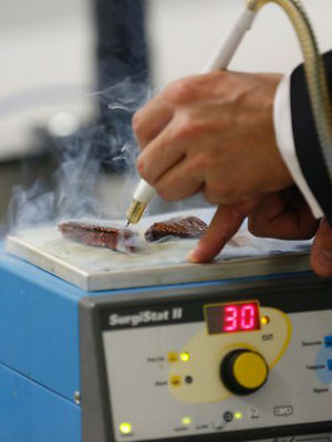 The first component, an electric scalpel, is already routinely used in operations to sear through flesh. The scalpel produces smoke, typically sucked away by extractor fans.