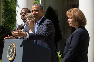 President Barack Obama delivers a statement announcing the nomination of three candidates for the U.S. Court of Appeals for the District of Columbia Circuit, in the Rose Garden of the White House, June 4, 2013. Nominees from left are: Robert Leon Wilkins, Cornelia 'Nina' Pillard, and Patricia Ann Millett. (Official White House Photo by Chuck Kennedy)