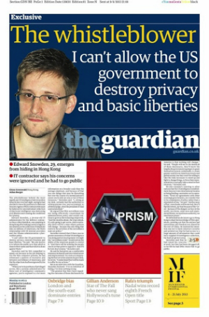 Edward Snowden was first publicized by the Guardian which continues to publish information about the U.S. government mass-surveillance program, PRISM.