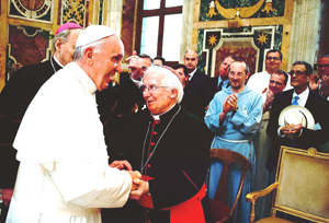 Pope Francis surprises the conference attendees. Dr. Ted Rebard is pictured holding his hat.