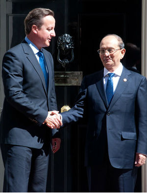 British Prime Minister David Cameron, who visited the former military dictatorship last year asked Thein Sein to ensure the constitution was changed in order to allow opposition leader Aung San Suu Kyi to contest a presidential election in 2015.
