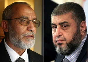 Mohammed Badie (pictured right), who is on the run, and Khairat al-Shater (pictured left)
