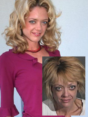 Lisa Robin Kelly in her 'That 70s Show' heyday and when she was arrested for her felony charge of corporal injury upon a spouse in March of 2012, inset.