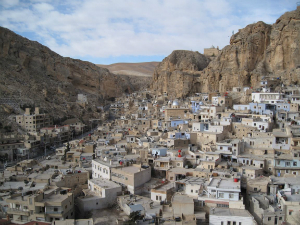Built against the side of a mountain, Maaloula is an ancient Christian enclave where the inhabitants still speak Aramaic, the language of Christ.