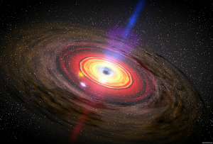 A supermassive black holen like the one in this artist's rendition resides at the heart of our galaxy.