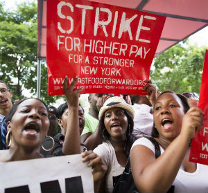 American fast-food workers staged a one-day walkout in August to demand $15 an hour.