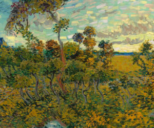 Entitled 'Sunset at Montmajour,' the painting depicts a dry landscape of oak trees, bushes and sky, painted with Vincent Van Gogh's familiar thick brush strokes as rendered by his palette knife.
