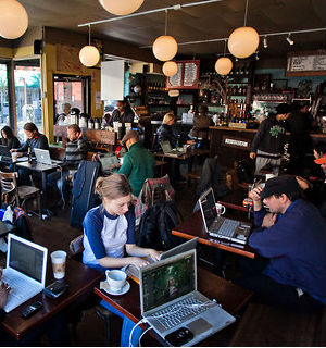 Some café owners want to avoid the blue-faced, zombie syndrome where there is table after table of vacant faces staring into laptops - and don't offer Wi-Fi at all.