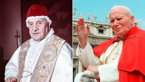 Pope John XXIII and Pope John Paul II will be canonized on April 27, 2014 by popes Benedict and Francis.