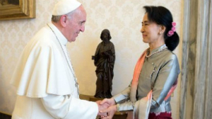 Pope Francis met with Aung San Suu Kyi and praised her non-violent approach to change.