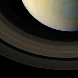 The mysterious gray-blue-tinted hexagonal storm is visible in this image captured on Oct. 10.