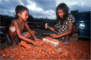 Child slaves in Bangladesh work long hours doing backbreaking manual labor.