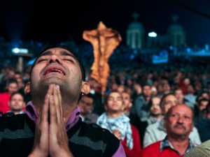 Egyptian Christians pray for peace amid violence in their country.