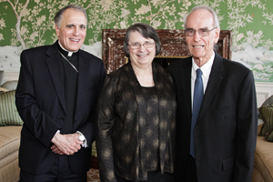 Cardinal Daniel DiNardo with Louise and Mark Zwick.