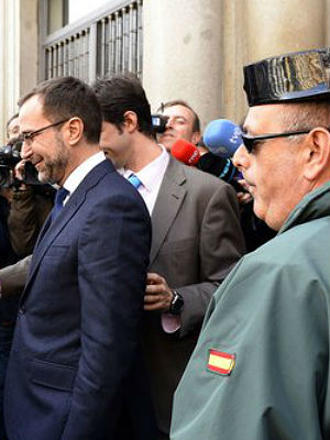 James Costos, the American ambassador, leaving the Spanish Ministry of Foreign Affairs in Madrid.