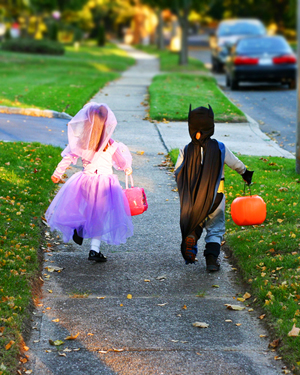 Happy trick or treaters on Halloween.