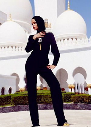 'Rihanna pics at Sheikh Zayed mosque are disrespectful to the place of worship,' one irate tweeter flagged by Al Arabiya said.