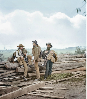 An image of captured Confederate prisoners, brought to a new life with color.