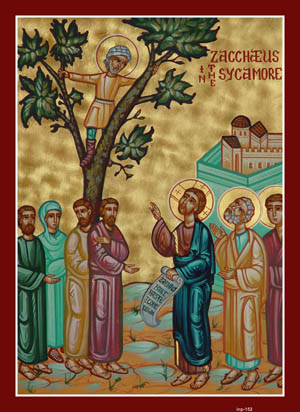 Zacchaeus climbs a tree to see the Lord. Such an act could have led to great mockery for a middle-aged public figure. But Zacchaeus didn't care about others' seeing him and the derision that might ensue. He wanted to see the Lord and no obstacle was going to stop him. His example challenges each of us to consider what is the extent to which we go, what trees or obstacles we'll climb, in order to see Jesus more clearly