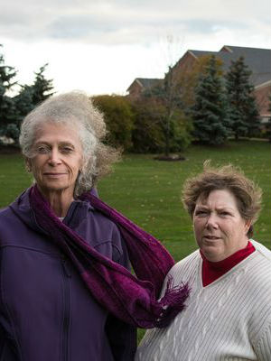 The lawsuit about prayer at government meetings of Susan Galloway, right, and Linda Stephens, residents of Greece, N.Y., went before the Supreme Court this week.
