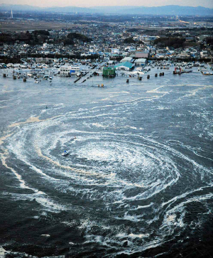 An eerie whirlpool was created of the Japanese coast by the 2011 tsunami.