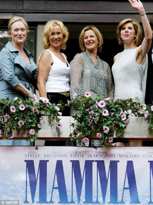 One of the few times that members of ABBA were to reunite was at the premiere of 'Mama Mia' in 1986. Singers Anni-Frid Lyngstad and Agnetha Faltskog are in the center of this picture.