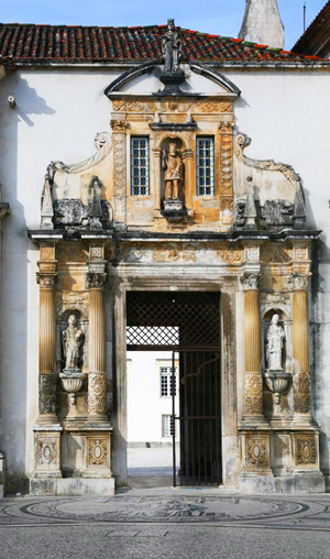 The 17th century Porta Ferrea or 'iron gate' which leads to the courtyard of Coimbra's Old University.